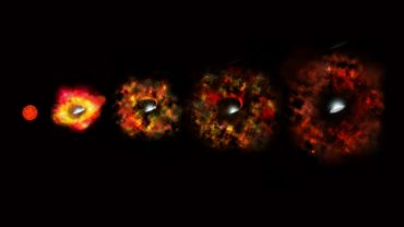 Collapsing Star Gives Birth to a Black Hole This illustration shows the final stages in the life of a supermassive star that fails to explode as a supernova, but instead implodes to form a black hole. Image credit: